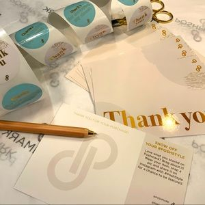 10 PACK POSHMARK THANK YOU CARDS & STICKERS (CREAM